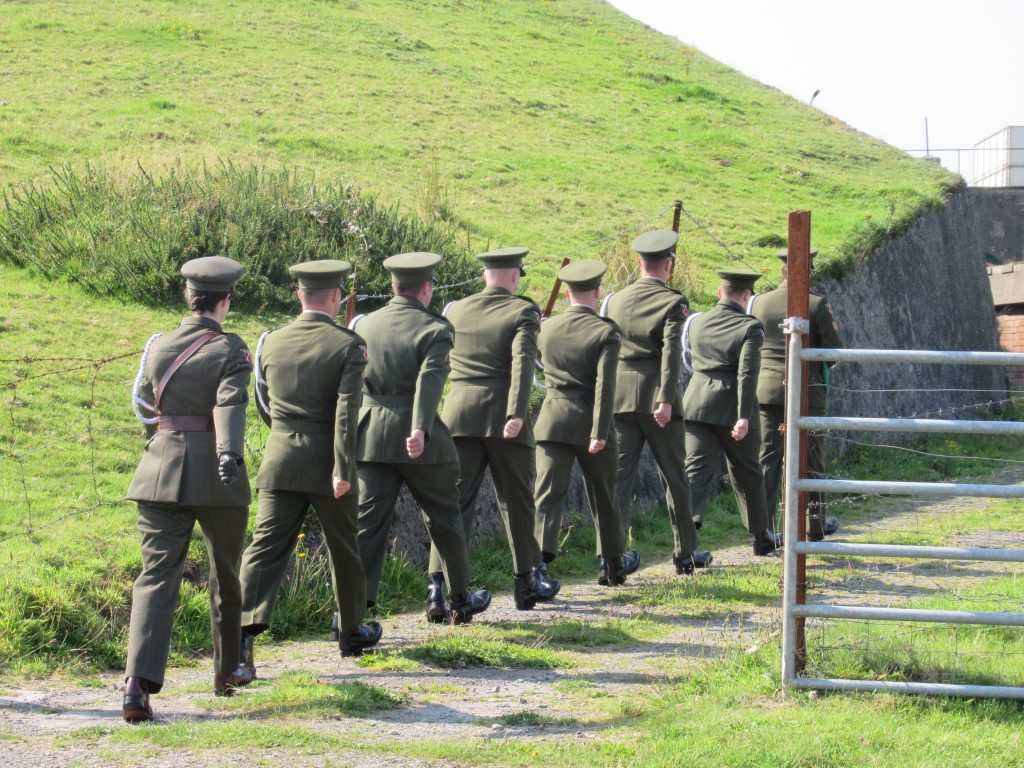 Irish Defence Forces attending an event to mark the centenary of the Bere Island Internment Camp.