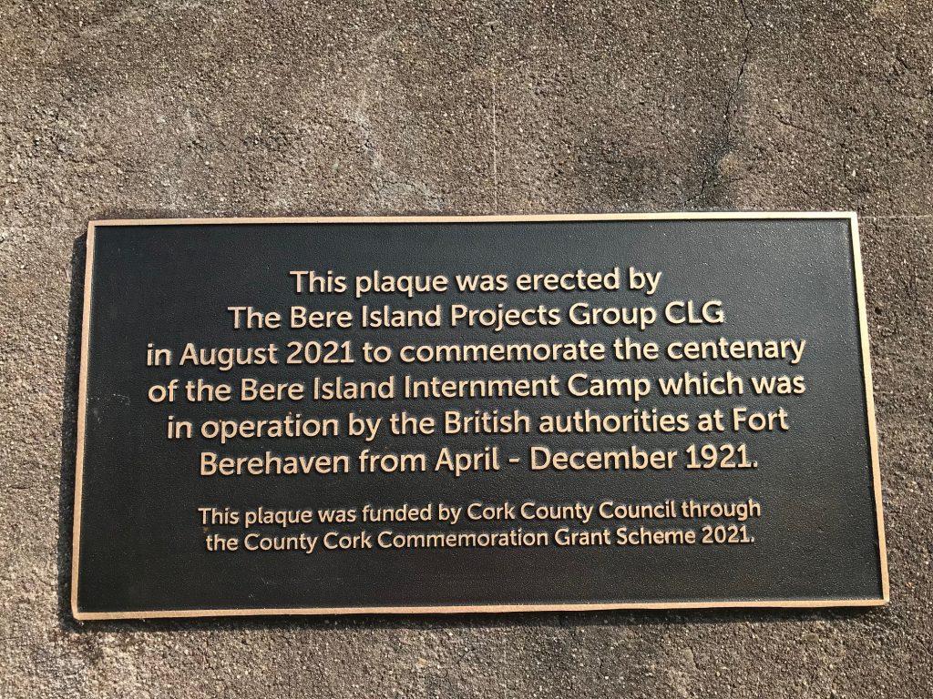 Bere Island Internment Camp commemorative plaque.